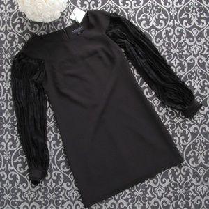 NWT Black Pleated Lace Sleeves Cocktail Midi Dress